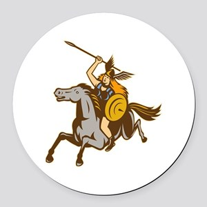 Valkyrie Riding Horse Retro Round Car Magnet
