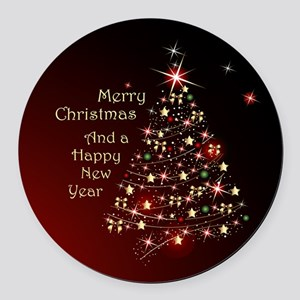 Christmas Tree And Wishes Round Car Magnet
