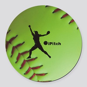 iPitch Fastpitch Softball (right  Round Car Magnet