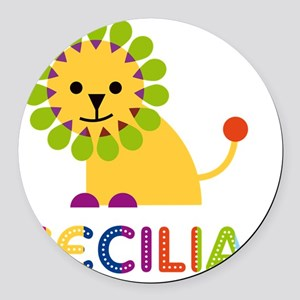 Cecilia-the-lion Round Car Magnet