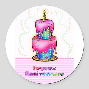 Happy Birthday French Round Car Magnets - CafePress