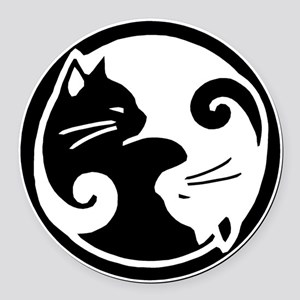 Yin Yang Cats Round Car Magnet