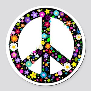 b40ff9122a8 Hippie Flowery Peace Sign Round Car Magnet