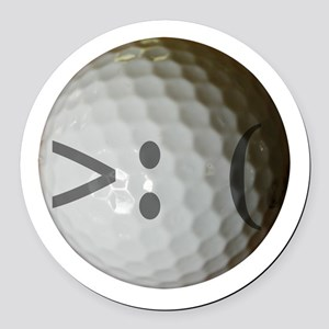 Angry Text golf ball. Round Car Magnet
