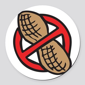No Peanuts! Round Car Magnet