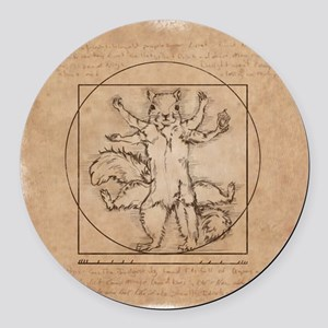 Vitruvian Squirrel Round Car Magnet