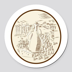 Olive Oil Jar Cheese Tuscan Countryside Etching Ro