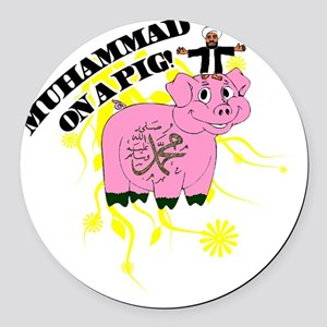 Muhammed On A Pig Round Car Magnet