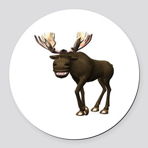 Moose Round Car Magnet