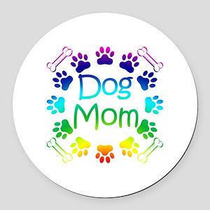 """""""Dog Mom"""" Round Car Magnet"""