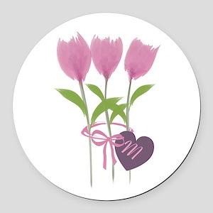 Pink Tulip Monogram Round Car Magnet