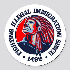 Native American (Illegal Immigration) Round Car Ma