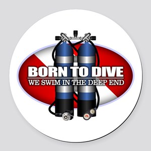 Born To Dive (ST) Round Car Magnet