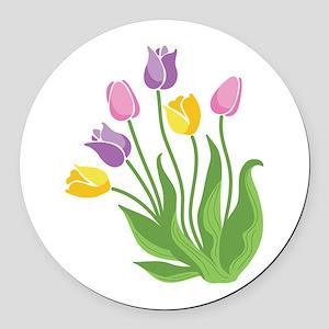 Tulips Plant Round Car Magnet