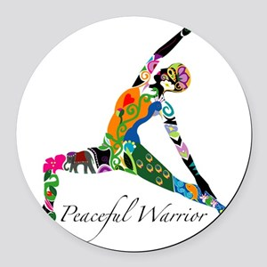 PeacefulWarriorT Round Car Magnet