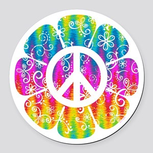 Colorful Peace Flower Round Car Magnet