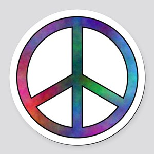 Multicolored Peace Sign Round Car Magnet