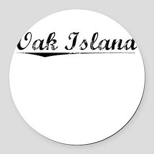 Oak Island, Vintage Round Car Magnet