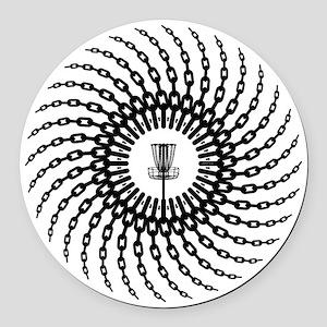 Disc Golf Basket Chains Round Car Magnet