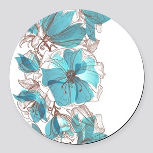 Pretty Floral Round Car Magnet