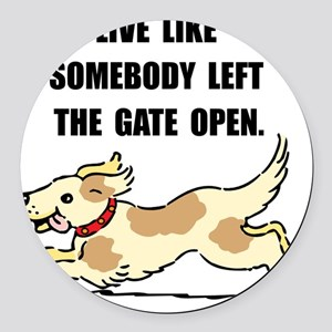 Dog Gate Open Round Car Magnet