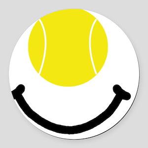 FBC Tennis Smile Black Round Car Magnet