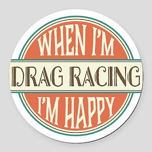 happy drag racer Round Car Magnet