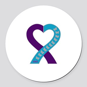 Smith-Magenis Syndrome Ribbon Round Car Magnet