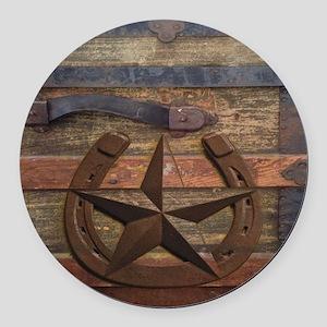 western horseshoe texas star Round Car Magnet