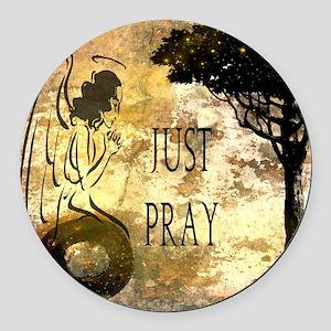 Praying Angel Round Car Magnet