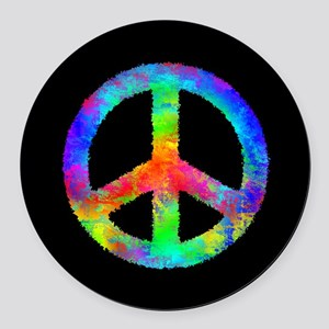 Abstract Rainbow Peace Sign Round Car Magnet