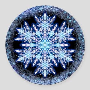 October Snowflake - square Round Car Magnet