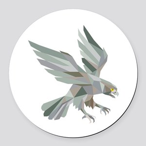 Peregrine Falcon Swooping Grey Low Polygon Round C