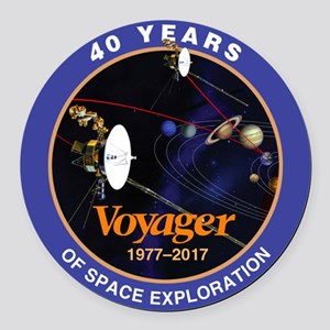 Voyager At 40! Round Car Magnet