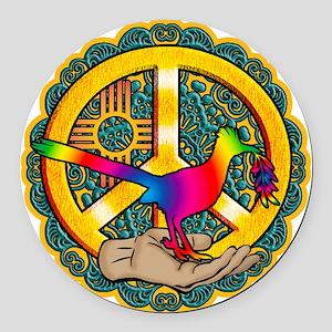 PEACE ROADRUNNER Round Car Magnet