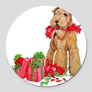 Airedale 11x11 Merry Christmas Round Car Magne