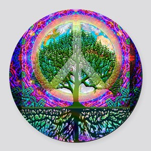 Tree of Life World Peace Round Car Magnet