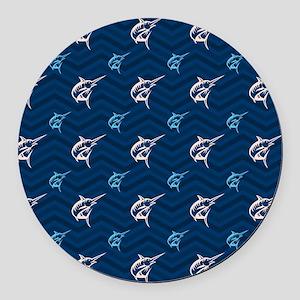 Blue and Tan Chevron Saltwater Fishing Round Car M