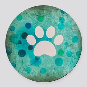 Blue Paw Dot Round Car Magnet