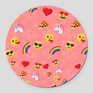 Emoji Pink Pattern Round Car Magnet
