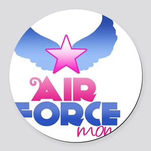 Pink Airforce Mom Round Car Magnet