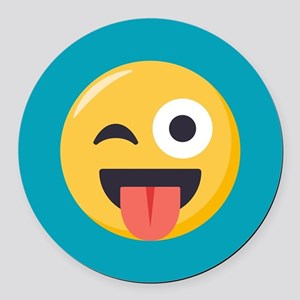 Winky Tongue Emoji Round Car Magnet