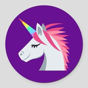 Unicorn Emoji Round Car Magnet