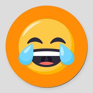 Crying Laughing Emoji Round Car Magnet