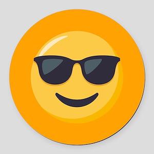 Sunglasses Emoji Round Car Magnet