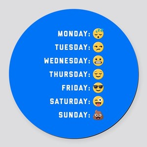 Emoji Days of the Week Round Car Magnet