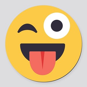 Winky Tongue Emoji Face Round Car Magnet