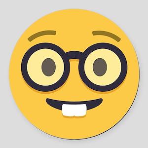 Nerdy Emoji Face Round Car Magnet
