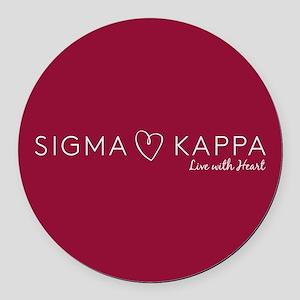 Sigma Kappa Heart Round Car Magnet