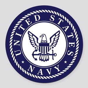 US Navy Emblem Blue White Round Car Magnet
